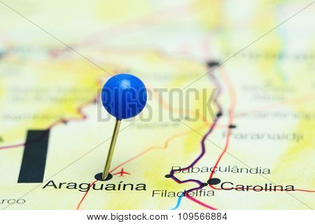 Araguaina pinned on a map of Brazil
