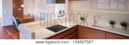 Clean Kitchen With White Tops