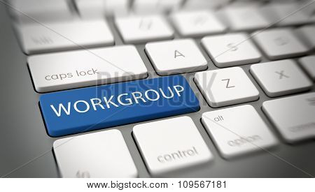 Online or internet concept with white text - WORKGROUP - on a blue enter key on a white computer keyboard viewed at an oblique high angle with blur vignette for focus. 3d Rendering.