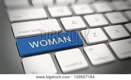 Online or internet concept with white text - WOMAN - on a blue enter key on a white computer keyboard viewed at an oblique high angle with blur vignette for focus. 3d Rendering.
