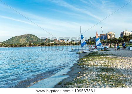 VITORIA, BRAZIL - CIRCA JULY 2015: Praia do Canto (Canto Beach) in Vitoria, Espirito Santo, Brazil