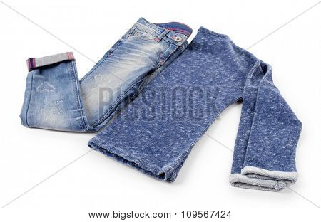 Blue jeans with pullover isolated on white background