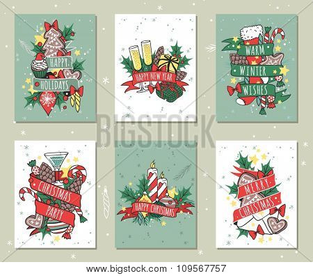 Christmas greeting card vector background banner. Christmas Holidays winter background. Hand draw New Year greeting card background. Christmas banners. Christmas holiday poster. New Year banner