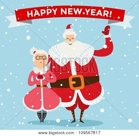 Santa Claus, Missis Claus family vector illustration. Santa Clau, Missis Claus cartoot people. Missis Claus traditional costume. Santa Claus isolated on background. Santa Claus family portrait
