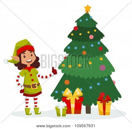 Santa Claus kids cartoon elf helpers vector illustration. Santa Claus elf helpers children. Santa helpers traditional costume. Santa family elfs isolated on background. Santa Claus elf, christmas kids