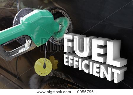 Fuel Efficient 3d words on car as a green gas nozzle fills the tank with gasoline or ethanol based additive