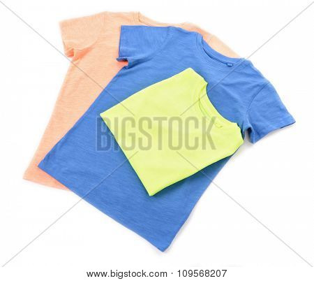 Colourful cotton T-shirt isolated on white background