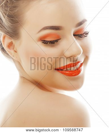 young blond woman with bright make up smiling pointing gesturing emotional isolated