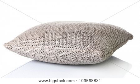 Beige pillow isolated on white