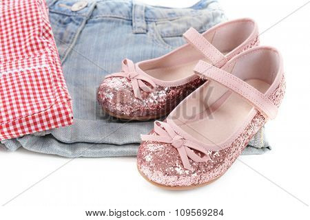 Stylish casual clothes for girls, close-up