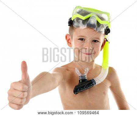 Happy boy with yellow diving mask isolated on white background
