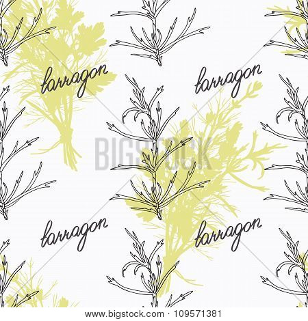 Hand drawn tarragon branch and handwritten sign. Spicy herbs seamless pattern. Doodle kitchen backgr