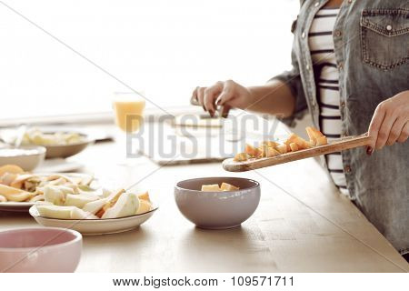 Cooking, cuisine. Woman prepare food at kitchen