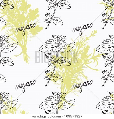 Hand drawn oregano branch and handwritten sign. Spicy herbs seamless pattern. Doodle kitchen backgro