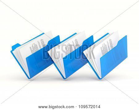 Three Blue Folders In A Row
