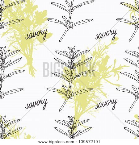 Hand drawn savory branch and handwritten sign. Spicy herbs seamless pattern. Doodle kitchen backgrou