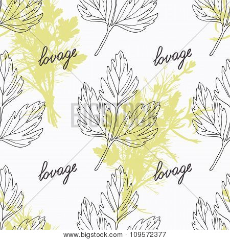 Hand drawn lovage branch and handwritten sign. Spicy herbs seamless pattern. Doodle kitchen backgrou