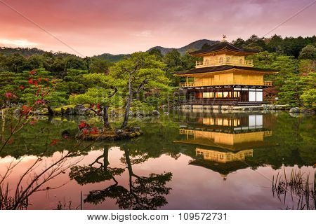 Kyoto, Japan at the Golden Pavilion at dusk.
