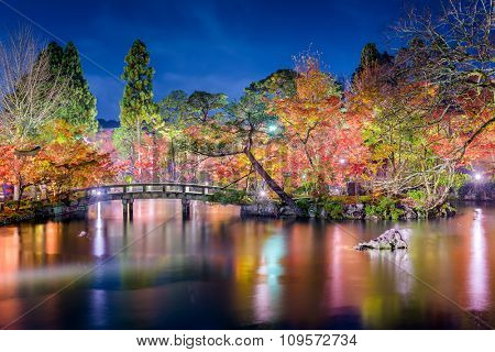 Kyoto, Japan at Eikando Garden at night in the autumn.