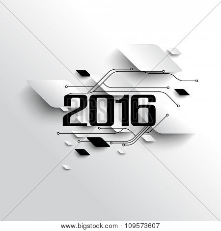 2016 new year banner celebration, circuit board futuristic background illustration