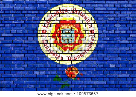 Flag Of Lancaster Painted On Brick Wall