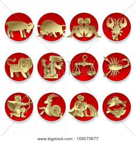 Set of gold zodiacal signs with figure on red circles. Original design