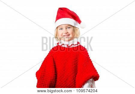 Little Girl In A Hat Santa Claus On White Background.