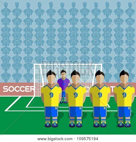 Ukraine Soccer Club On A Stadium