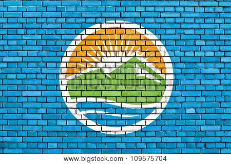 Flag Of Provo Painted On Brick Wall