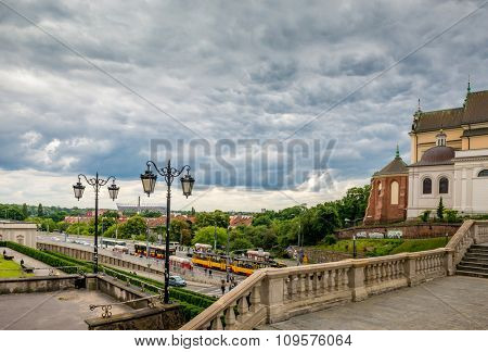 view on the old city and the stadium in Warsaw. Poland