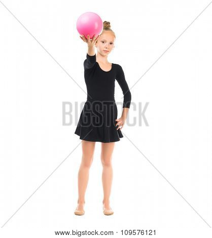 little gymnast doing exercise with ball isolated on white background