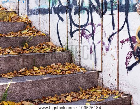 Varna - November 13: Detail Of Graffiti On The Wall Of The Underpass In Autumn Perspective. Grungy C