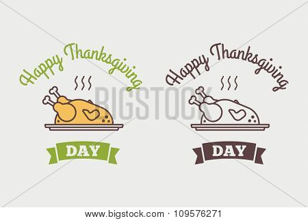 Flat design style Happy Thanksgiving Day logotype, badge and icon. Happy Thanksgiving Day logo template. Happy Thanksgiving banner, flyer. Thanksgiving Day card template.