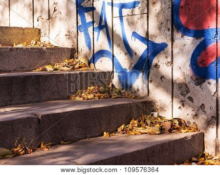 Varna - November 13: Detail Of Graffiti On The Wall Of The Old Building. Grungy Concrete Surface Wit