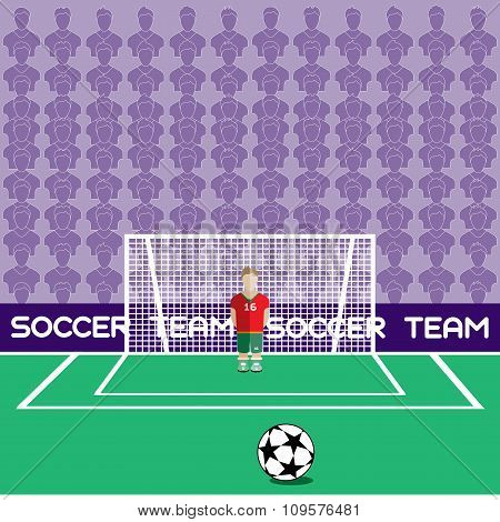 Goalkeeper In Flat Style Standing In A Goal