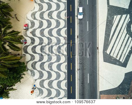 Copacabana beach on a top angle of view