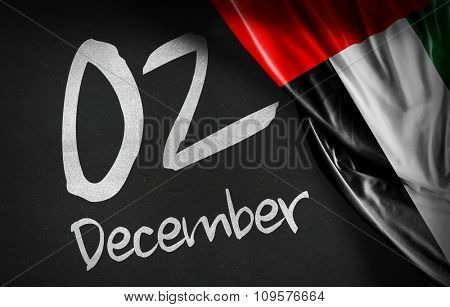 December 02, National day, UAE flag on blackboard