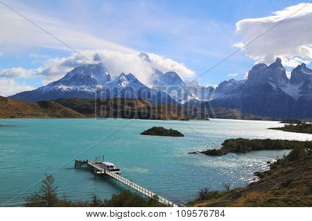 The Cuernos del Paine Horns of Paine and Lake Pehoe in Torres del Paine National Park