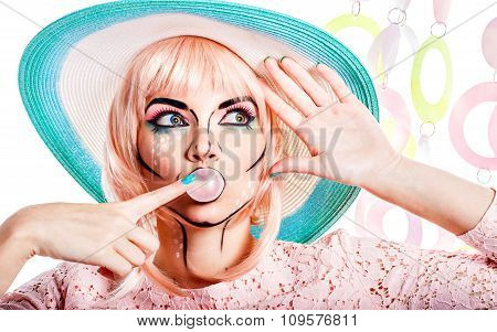 Girl With Makeup In Style Pop Art Bubble From Chewing Gum.