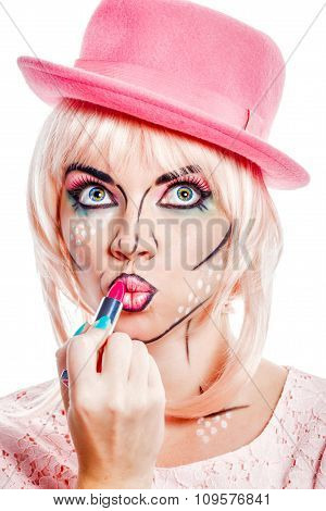 Girl With Makeup In Style Pop Art Lipstick Colors.
