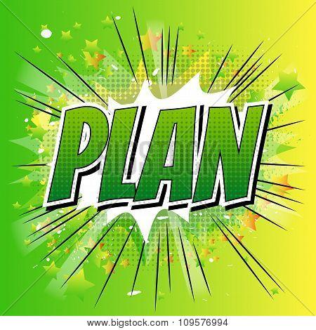 Plan - Comic book style word