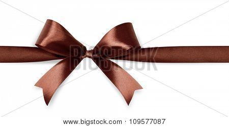 Brown satin bow isolated on white background