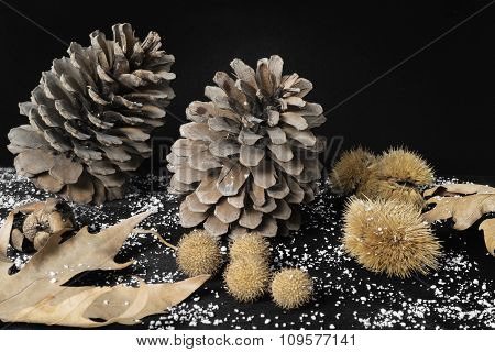 Natural Christmas Decoration Of Pine Cones, Leaves, Chestnuts And Nuts