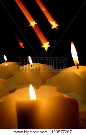 Christmas Candles With Falling Star