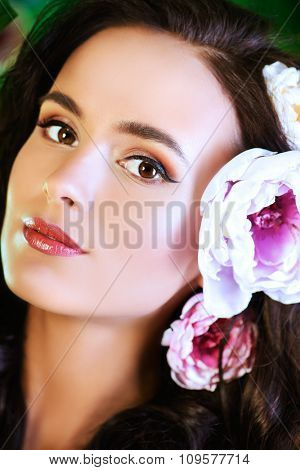 Beautiful young woman with perfect skin looking at camera. Beauty, fashion. Healthcare, spa. Natural cosmetics.