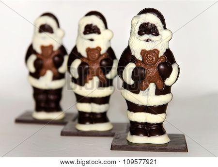 Trio Of Chocolate Santas