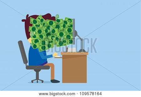 Many money out of computer screen to worker face