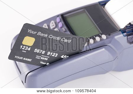 A Credit Card With Credit Card Machine