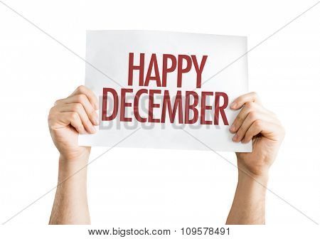 Happy December placard isolated on white