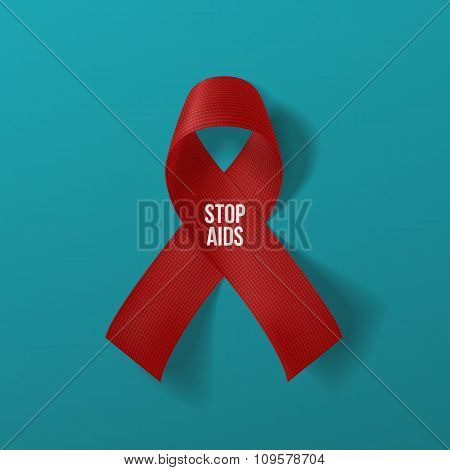 Realistic curved red Ribbon with Stop AIDS Text